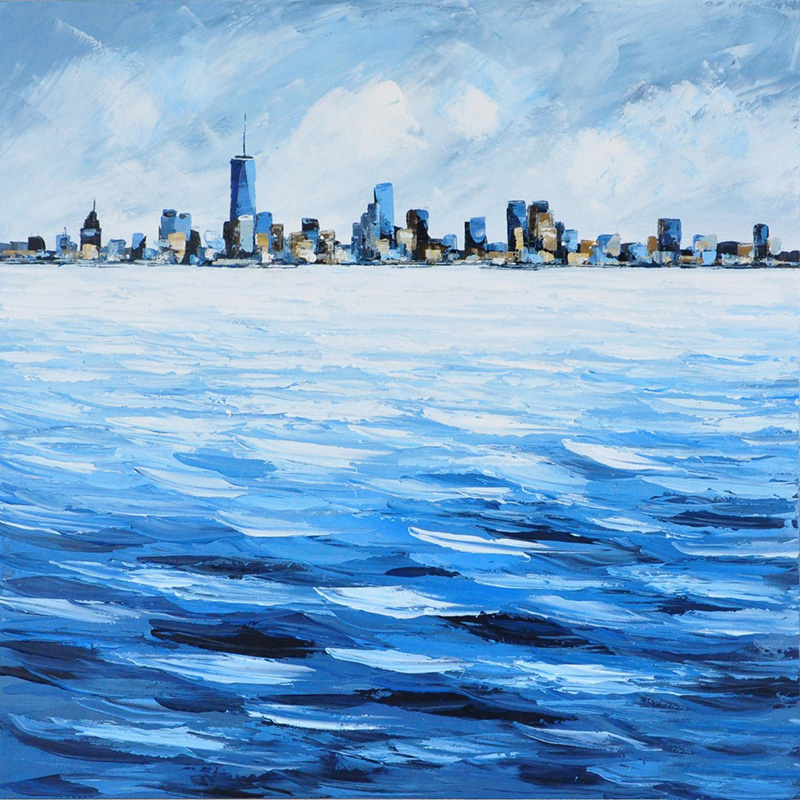 Olieverfschilderij - Stad aan het water - 100x100 cm