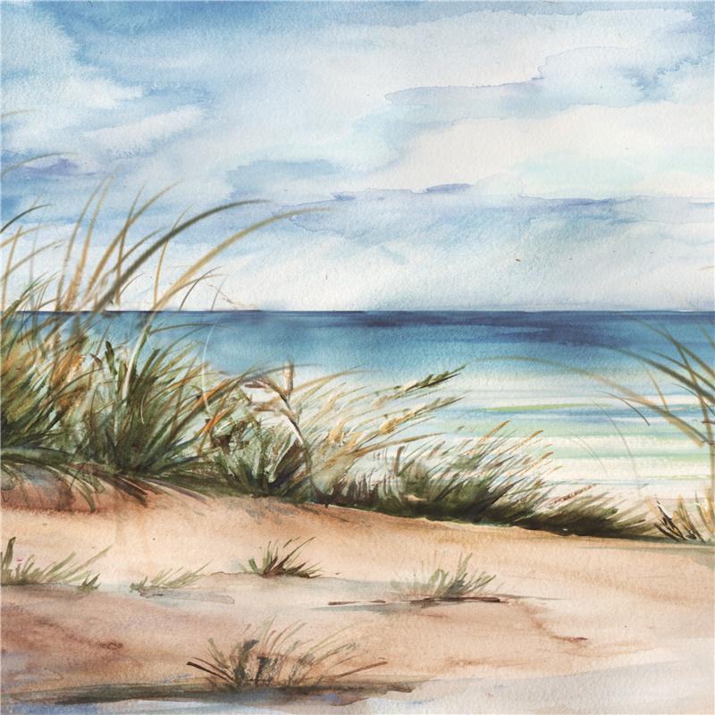 100 x 100 cm - Olieverfschilderij - zee en duinen - natuur handgeschilderd