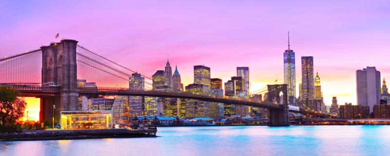 160 x 60 cm - Glasschilderij - schilderij fotokunst stadsgezicht skyline - New York Manhattan Brug - foto print op glas