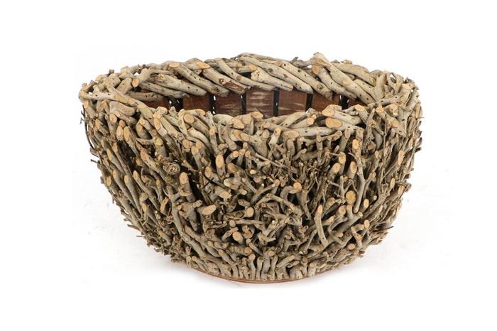 Houten kunst - Houten vaas - theeboom - naturel teak