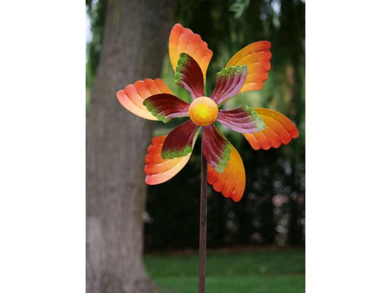 Tuinsteker metaal - tuindecoratie - tuinsteker windmolen oranje bloem - 140 cm hoog
