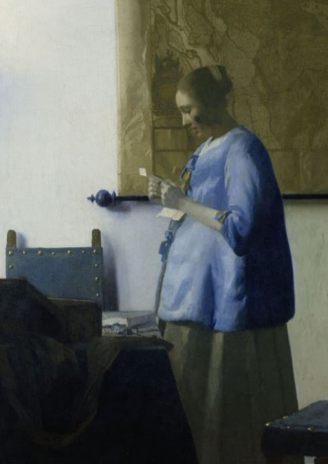 Schilderij Dibond - Brieflezende vrouw