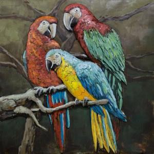 100 x 100 cm - 3D art Schilderij Metaal papegaaien - metaalschilderij - handgeschilderd