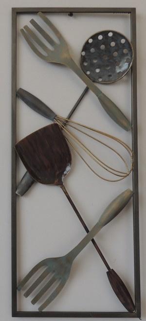 25 x 60 cm - wanddecoratie schilderij metaal - Frame Art - Abstract - Keuken