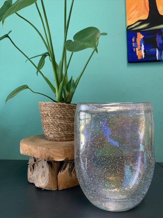 Design vaas Fidrio - glas kunst sculptuur - platinum - mondgeblazen - 22 cm hoog