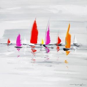 60 x 60 cm - Olieverfschilderij 2-luik - Zeilboten