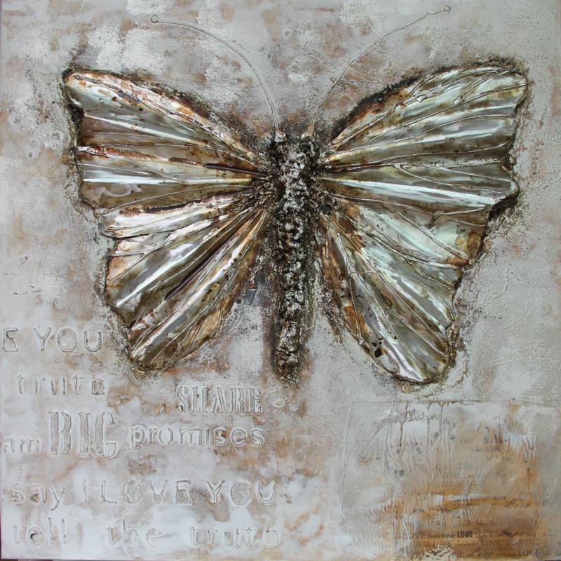 80 x 80 cm - Olieverfschilderij - Vlinder