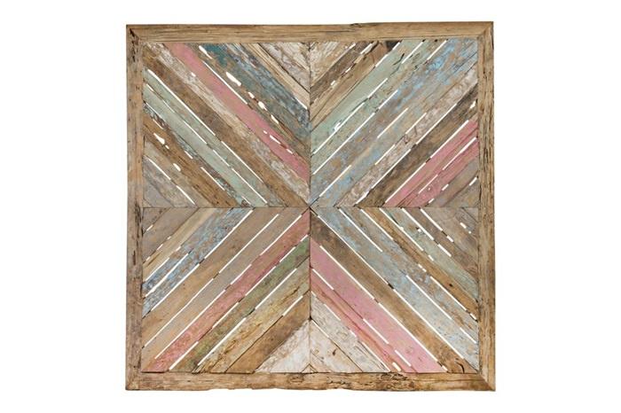 Goede Houten kunst - Wanddecoratie hout - kleurrijk - gerecycled hout IC-01