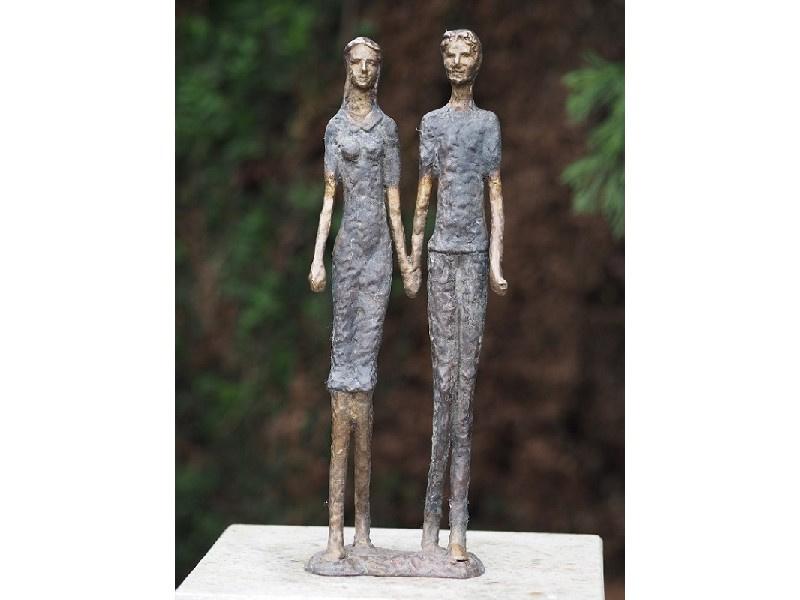 Tuinbeeld brons - beeld Modern Hand in hand - Bronzartes