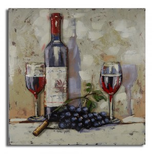 80 x 80 cm - 3D art Schilderij Metaal Wijn - metaalschilderij - handgeschilderd
