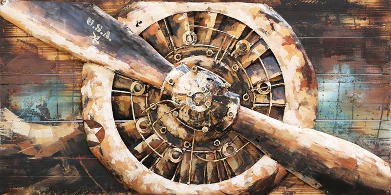 140 x 70 cm - 3D art Schilderij Metaal - Propeller Motor - handgeschilderd