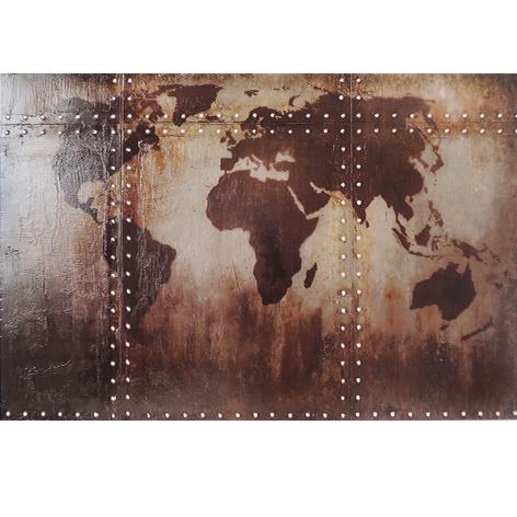 Metalen wanddecoratie - wereldkaart 3D