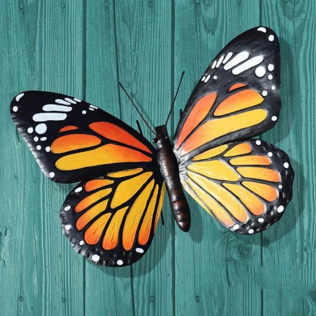 Wanddecoratie 3D metaal oranje vlinder