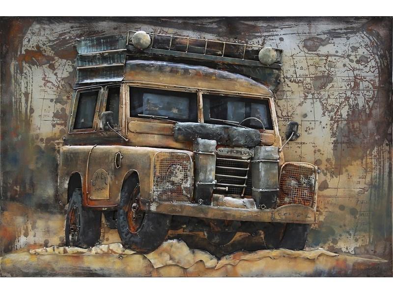 120 x 80 cm - 3D art Schilderij Metaal - Landrover Bruin - oldtimer - handgeschilderd