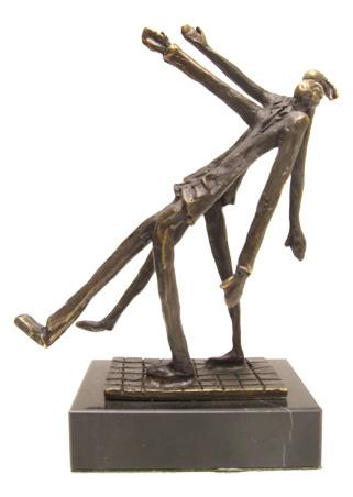 Bronzen beeldje - sculptuur - abstract - samen een stap vooruit