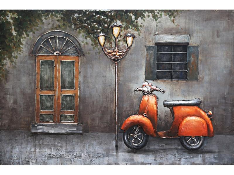 120 x 80 cm - 3D art Schilderij Metaal - oranje scooter - handgeschilderd