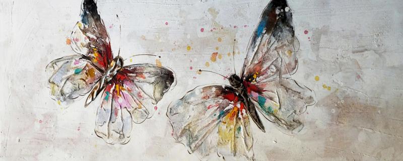 Olieverfschilderij - Vlinders - 150x60 cm