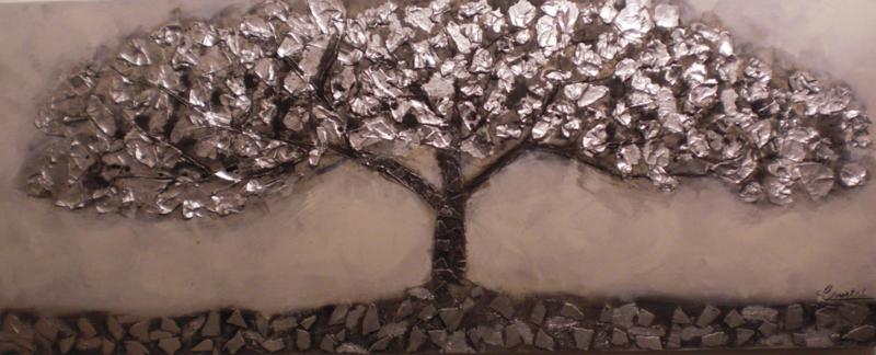 150 x 60 cm - Olieverfschilderij - Bruine Boom - natuur handgeschilderd