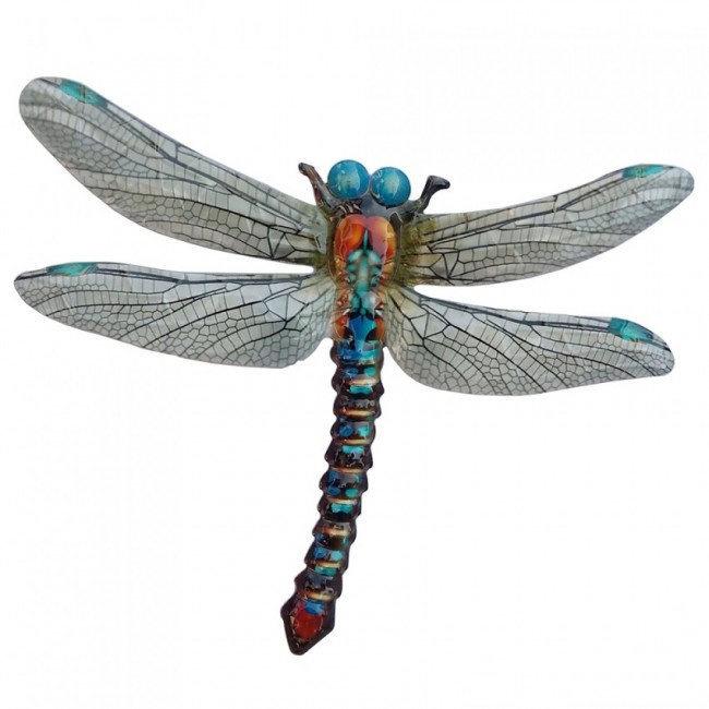 Wanddecoratie 3D metaal libelle blauw