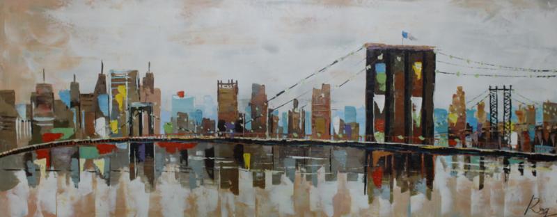 150 x 60 cm - Olieverfschilderij - New York abstract - stadsgezicht - handgeschilderd --