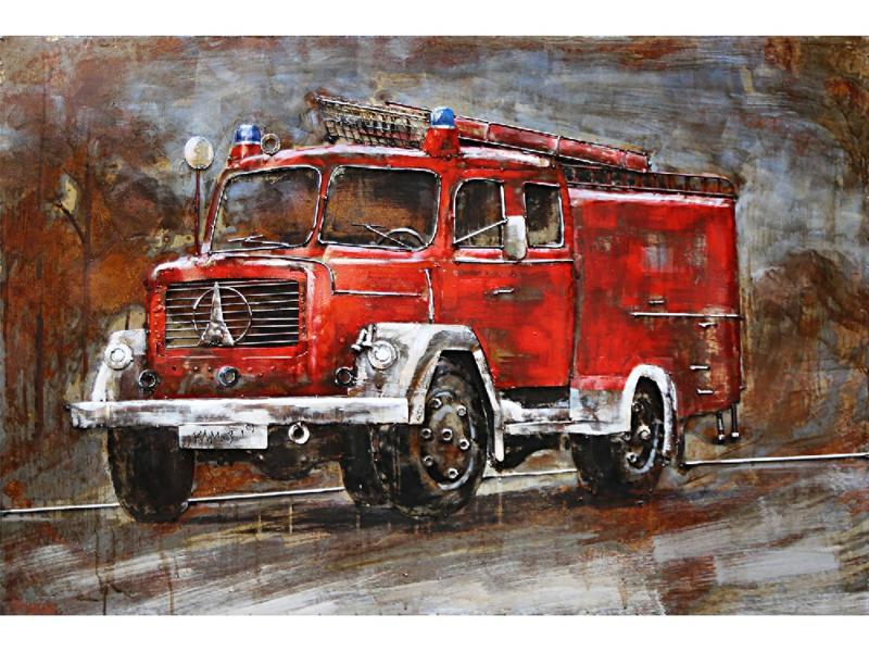 3D Schilderij Metaal - Klassieke brandweer vrachtwagen - oldtimer- 120x80 cm