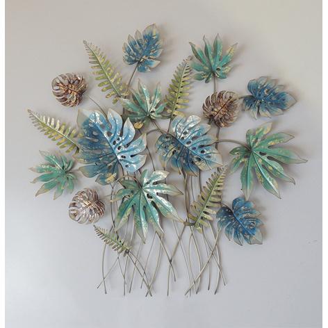 Metalen wanddecoratie - bladeren