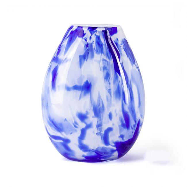 Design vaas Fidrio - glas kunst sculptuur - delfts blauw - mondgeblazen - 20 cm hoog --