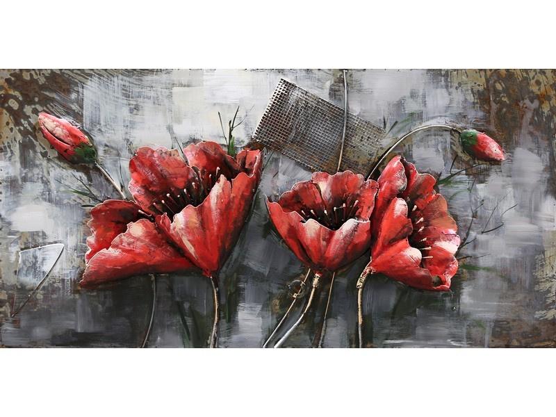 3D Schilderij Metaal - Rode Bloemen