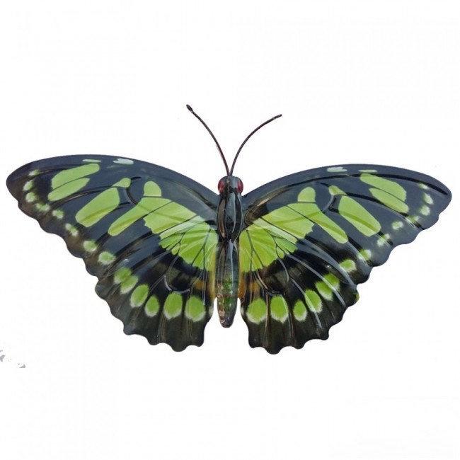 Wanddecoratie 3D metaal vlinder groen