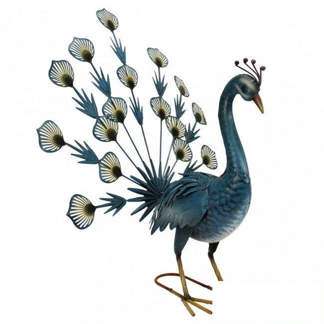 Tuinbeeld - beeld  metalen blauwe pauw
