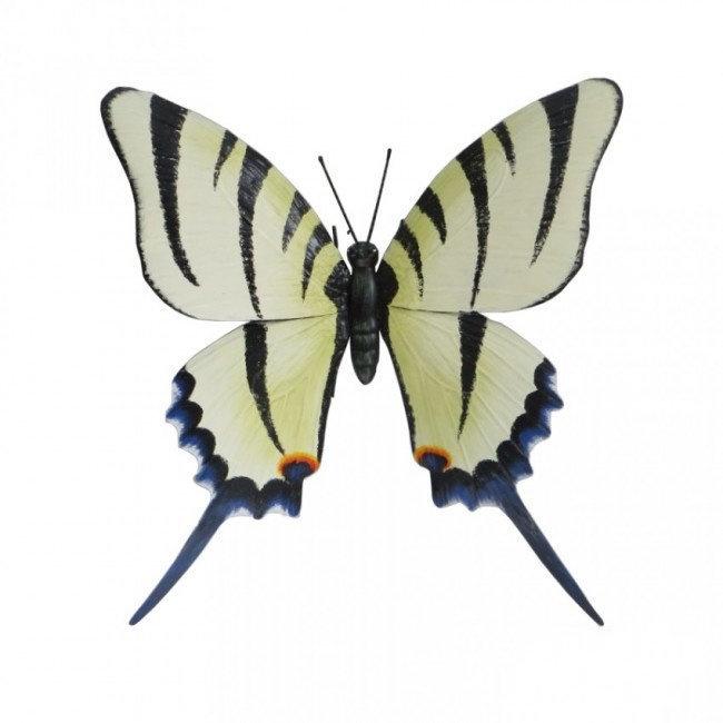 Wanddecoratie 3D metaal witte vlinder