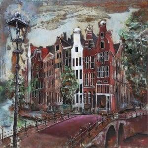 100 x 100 cm - 3D art Schilderij Metaal Amsterdam gracht - metaalschilderij - handgeschilderd