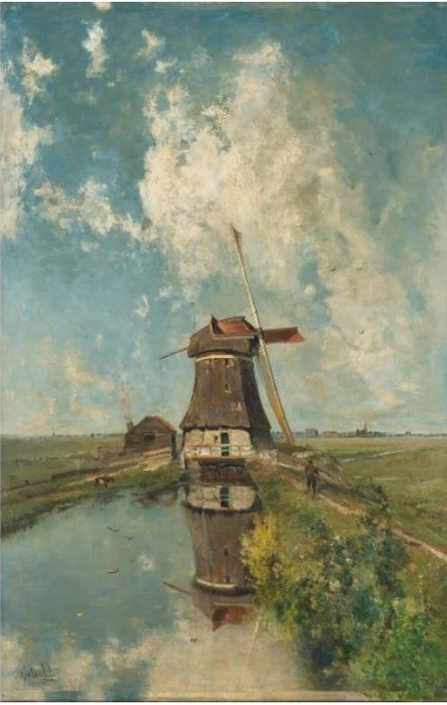 Schilderij Dibond - Een molen aan een poldervaart, In de maand Juli