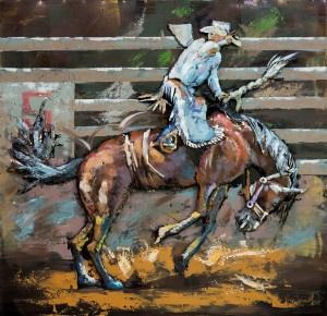 100 x 100 cm - 3D art Schilderij Metaal Paard rijden rodeo - metaalschilderij - handgeschilderd