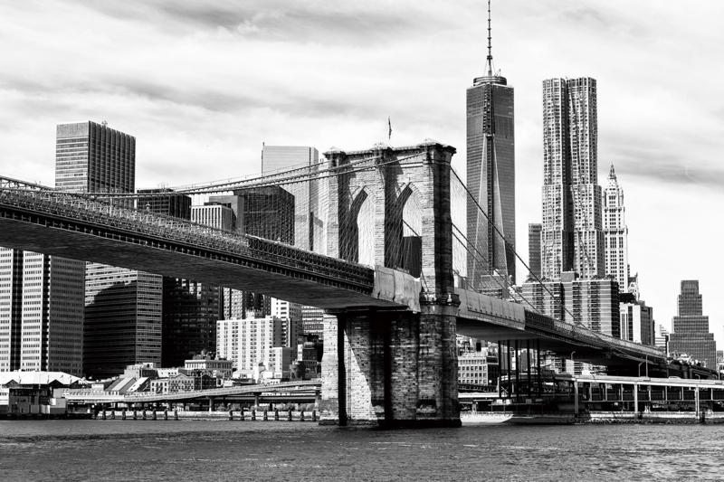 120 x 80 cm - Glasschilderij stadsgezicht skyline New York - schilderij fotokunst - Brooklyn Bridge - foto print op glas