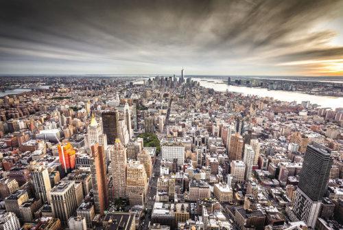 120 x 80 cm - Glasschilderij New York Skyline - fotokunst - foto print op glas