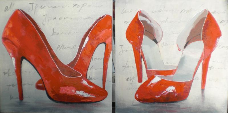 60 x 60 cm - Olieverfschilderij 2-luik - hakken