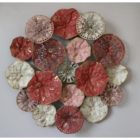 Metalen wanddecoratie - rode cirkels
