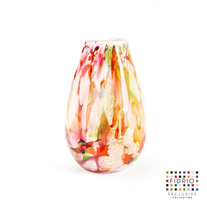 Design vaas Fidrio - Organic - Mixed Colors - gekleurd glas kunst - mondgebazen - 30 cm hoog  --