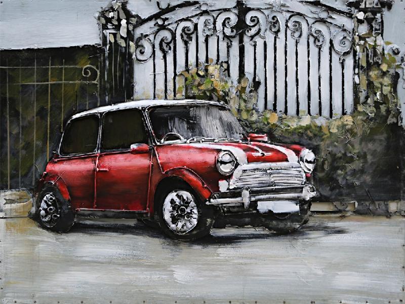 80 x 60 cm cm - 3D art Schilderij Metaal - mini classic rood - handgeschilderd