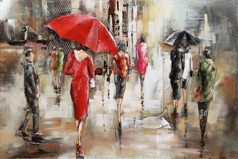 120 x 80 cm - 3D art Schilderij Metaal Paraplu's in de stad - handgeschilderd