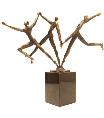 Bronzen beeldje - sculptuur - abstract - een dynamisch team - Martinique