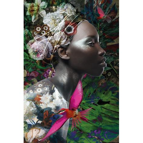 100 x 150 cm - Schilderij Dibond - Foto op aluminium -Fotokunst  Vrouw met bloemen - Mondiart