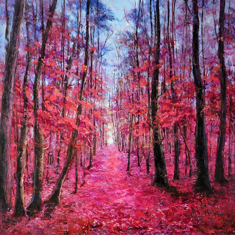 100 x 100 cm - Olieverfschilderij - Het Roze Bos - natuur - natuur handgeschilderd