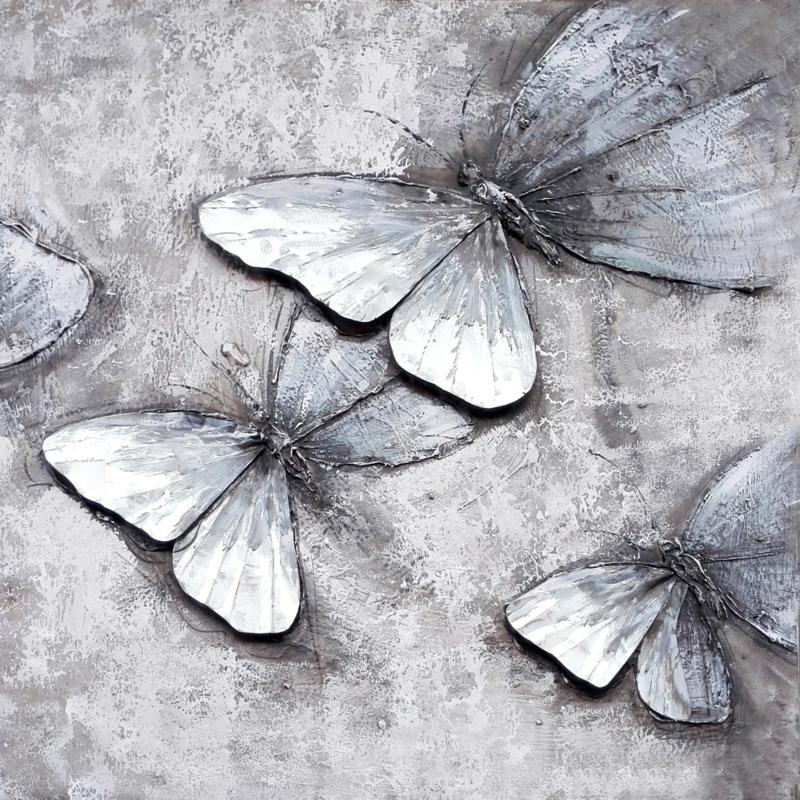 100 x 100 cm - Olieverfschilderij - Grijze Vlinders - dieren