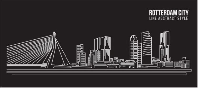 120 x 80 cm - Schilderij Dibond - Rotterdam City