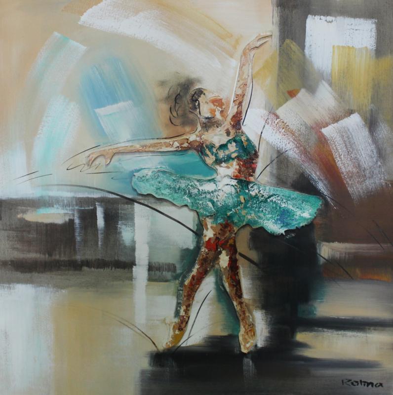 100 x 100 cm - Olieverfschilderij - Blauwe danseres  - ballet dans - handgeschilderd