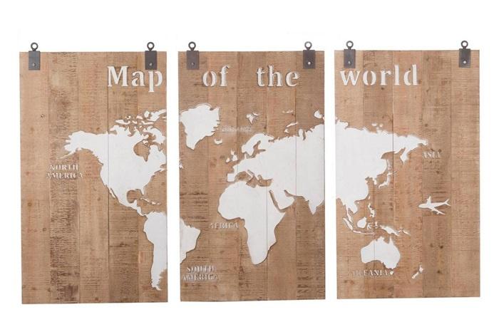 Super Houten kunst - Wanddecoratie hout - 3 luik - wereldkaart | Dijk DL-45