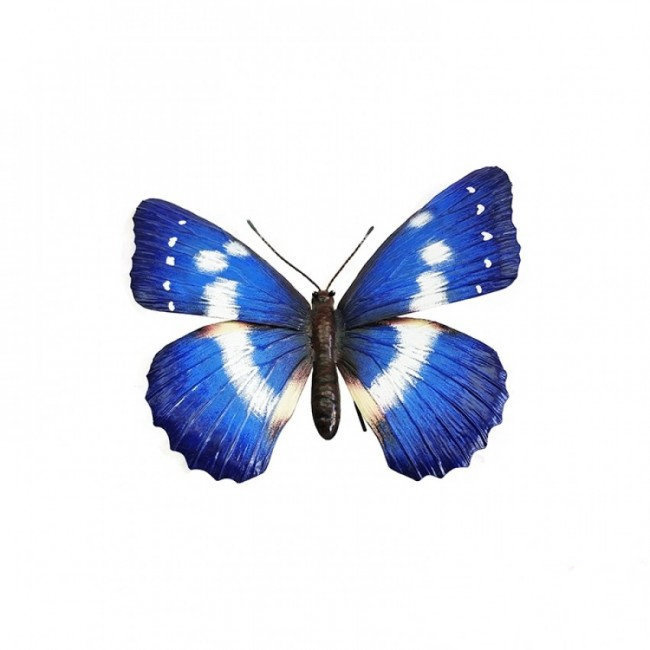 Wanddecoratie 3D metaal blauwe vlinder