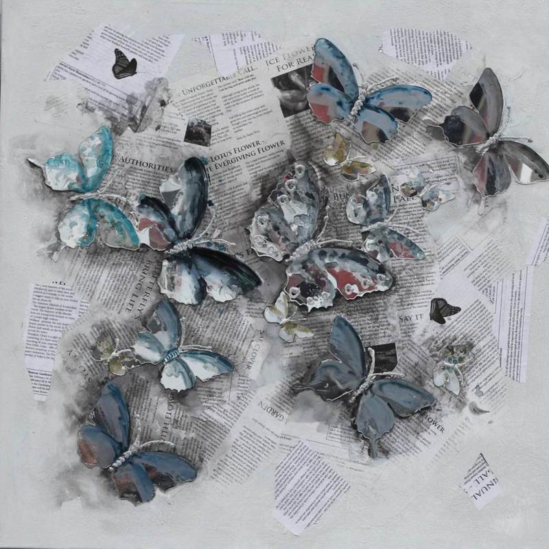 100 x 100 cm - Olieverfschilderij - Vlinders - natuur handgeschilderd